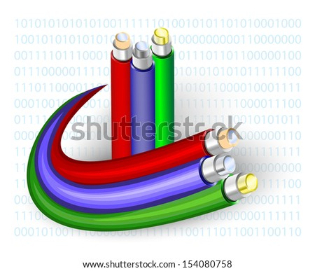 optical fibre. Cable on a binary code background - stock vector