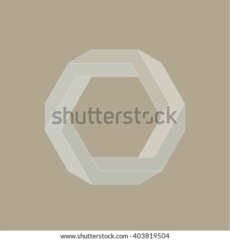 Optical illusion, abstract geometric design element. Printoptical illusion symbols, Impossible sign. Colored vector design - stock vector