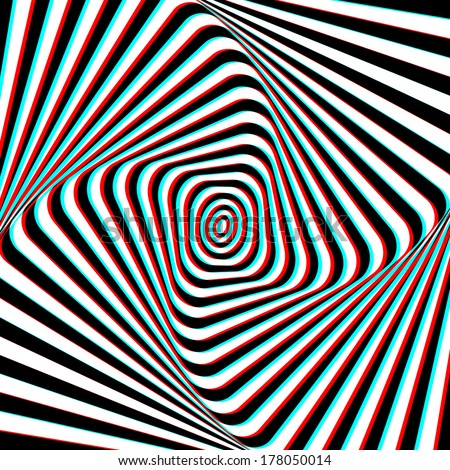 Optical Illusion - Anaglyph Opt Art Illustration - stock vector