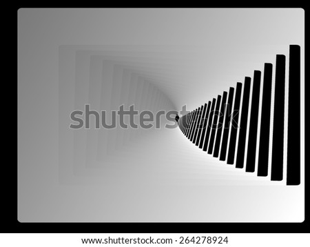 Optical illusion: black swirling staircase leading down. - stock vector