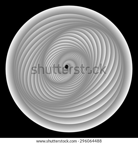 Optical illusion. Bright white circle within which intertwined gray-white stripes in a spiral stretching into the distance. - stock vector