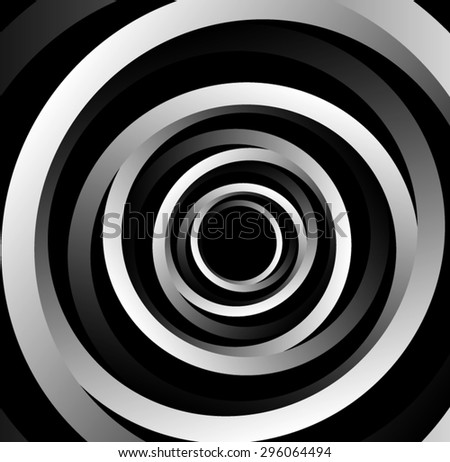 Optical illusion. Bulk metallic circles from intersecting metal monochrome ribbons, stretching out into the darkness. - stock vector