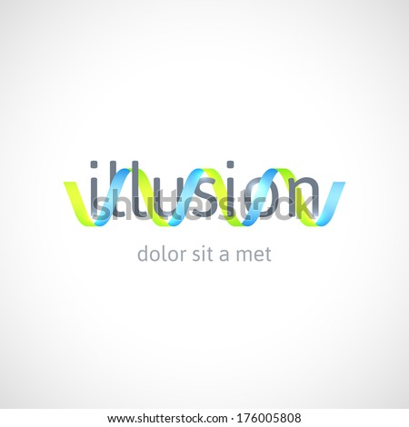 Optical illusion concept, abstract logo design template, vector symbol, icon or sign - stock vector