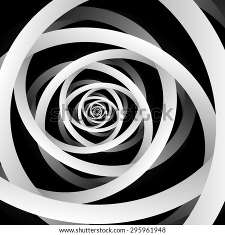 Optical illusion. Dancing, intertwined light gray monochrome ribbons in the dark and disappearing fractal stretching into the distance. - stock vector