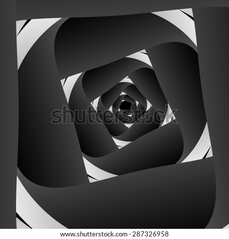 Optical illusion. Dark Spiral with white clearance, inscribed in the white square. - stock vector