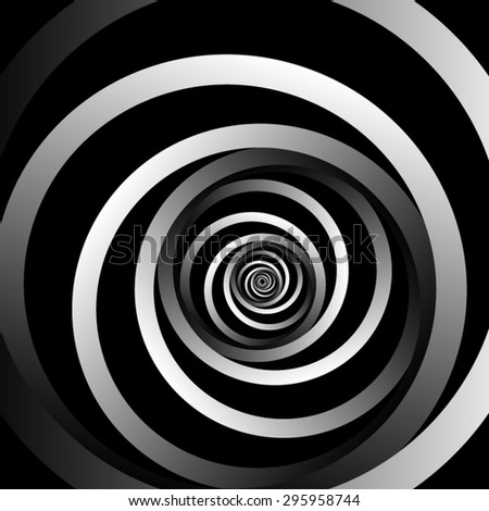 Optical illusion. Fractal curled striped spiral, becoming less and less, consisting of metal monochrome ribbons provided on a black background. - stock vector