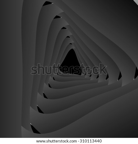 Optical illusion. Fractal of monochromatic triangle, twisting and forming a frame. - stock vector