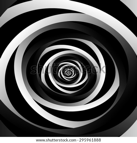 Optical illusion. Fractal twisted spiral striped with black and dark gray metal inserts, disappearing into the darkness. - stock vector