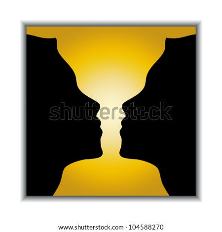Optical illusion. Holy grail or two girls? Vector illustration. - stock vector