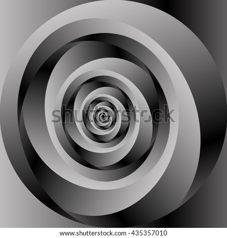 Optical illusion in the form of a narrow circular metal monochrome fractal spiral stretching into the distance.