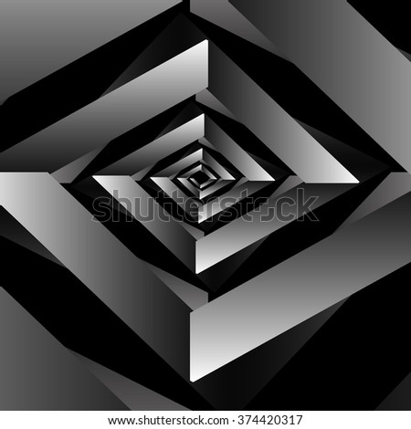 Optical illusion in the form of a square fractal swirling metallic volume monochrome spiral on a black background.