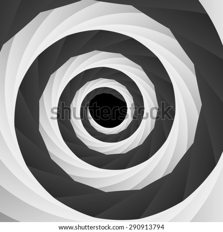 Optical illusion. Is twisted into a circular frame black and white intertwined and stretching into the distance tape. - stock vector