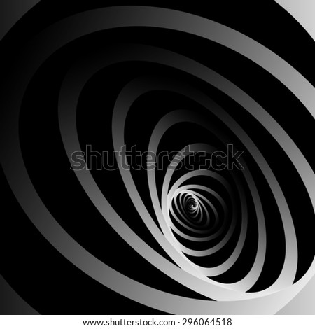 Optical illusion. Large rounded into a spiral striped ellipse consisting of long individual monochrome bands. - stock vector