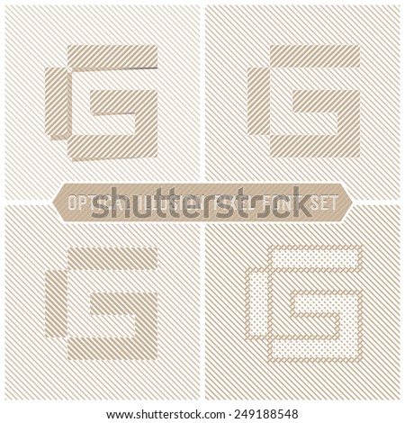 Optical Illusion Letter G, Abstract Pattern Vector Font Set - stock vector