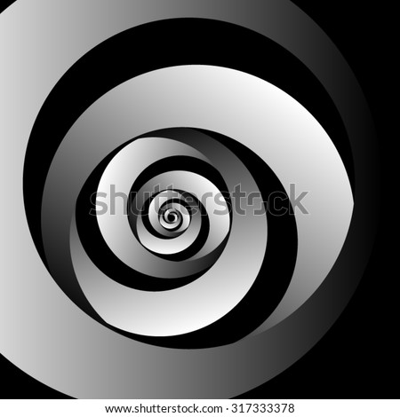 Optical illusion. Metal volumetric screw in a rounded triangle spiral. - stock vector