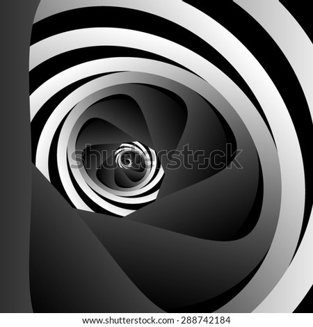 Optical illusion. Mysterious black and white spiral, divided into black, lead, and black. - stock vector