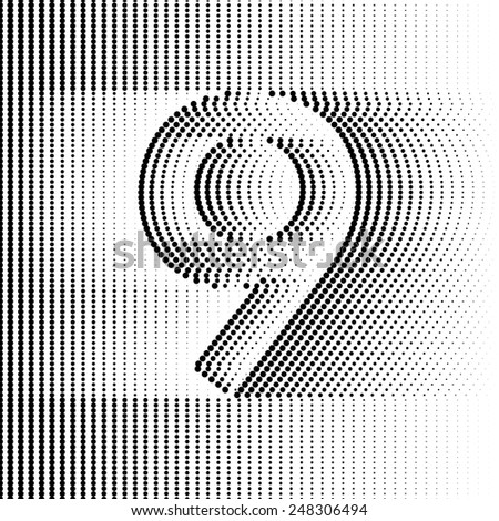 Optical Illusion number 9 - part of Dotted Optical iIllusion Alphabet  - stock vector