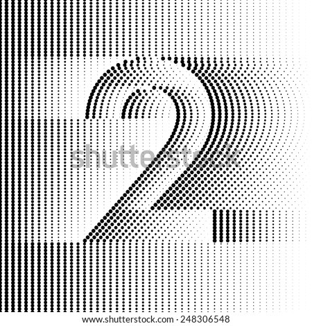Optical Illusion number 2 - part of Dotted Optical iIllusion Alphabet  - stock vector