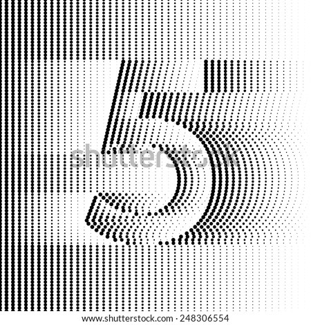 Optical Illusion number 5 - part of Dotted Optical iIllusion Alphabet  - stock vector