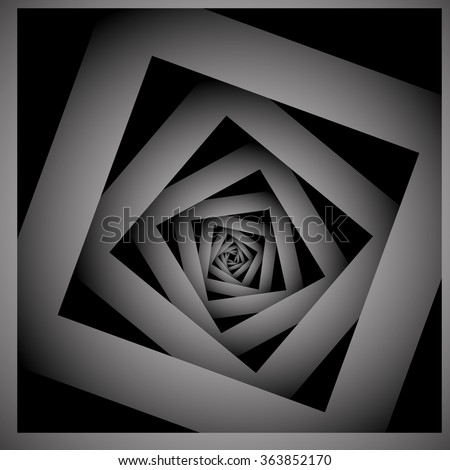 Optical illusion of striped monochrome fractal curving metal spiral. - stock vector