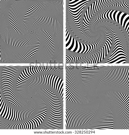 Optical illusion of torsion twisting movement. Dynamic effect. Set of abstract designs. Vector art. - stock vector