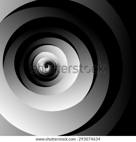 Optical illusion of volume monochrome screw on a black background thick colored spiral consisting of various shades of gray. - stock vector
