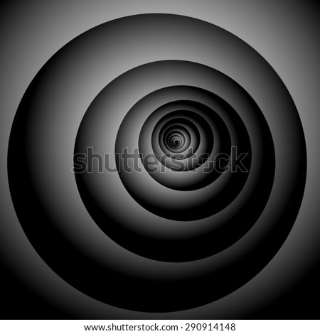 Optical illusion. Playfully swirling dark gray spiral, stretching into the distance. - stock vector