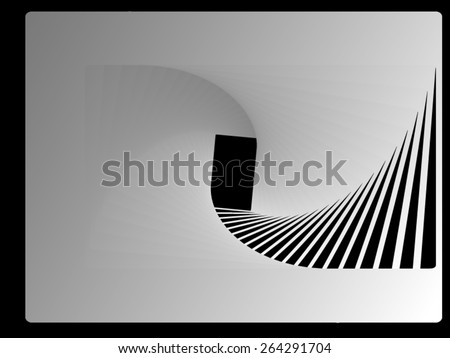 Optical illusion: spun back stairs in a white room, leading out the back door. - stock vector