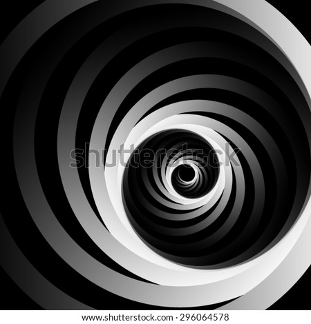 Optical illusion. Spun off of spiral curl metal monochrome ribbons, leaving the darkness. - stock vector