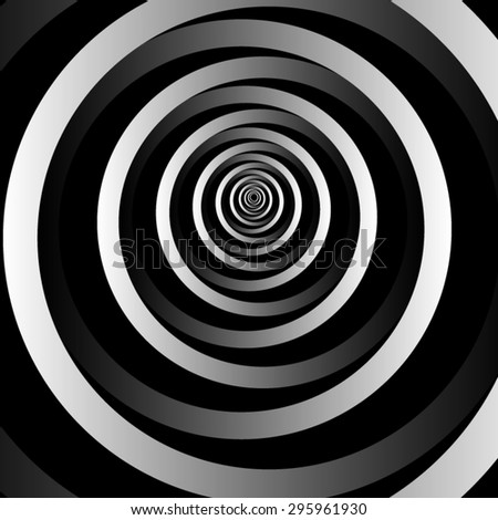 Optical illusion. Stretching into the distance fractal monochrome semi-ellipses on a black background and disappearing into the darkness. - stock vector