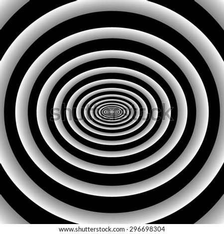 Optical illusion. Tapered fractal circles, ellipses, repetitive, diminish and disappear into the depths. - stock vector