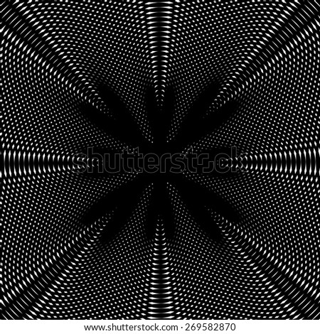 Optical illusion, vector creative black and white graphic moire backdrop. Decorative lined hypnotic contrast background.  - stock vector
