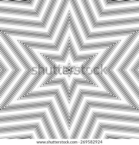 Optical illusion, vector moire background, abstract lined monochrome tiling. Unusual geometric pattern with visual effects. - stock vector