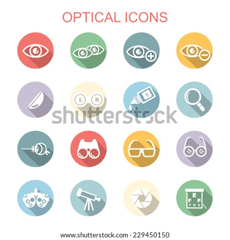 optical long shadow icons, flat vector symbols - stock vector