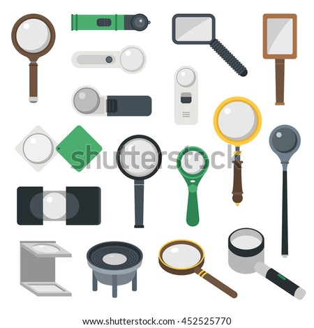 Optical magnifier loupe icons symbols abstract vector illustration. Research interface business search instrument magnifier loupe icons. Research exploration sign magnifier loupe icons equipment. - stock vector