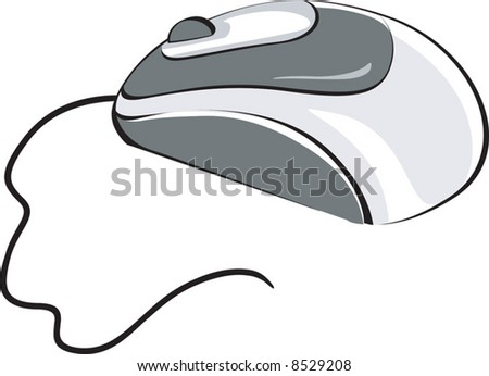 Optical mouse with chord	 - stock vector