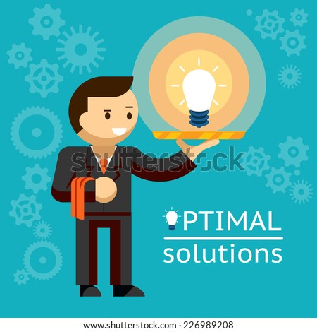 Optimal solutions concept with a businessman serving up a glowing light bulb on a tray like a waiter  vector illustration - stock vector