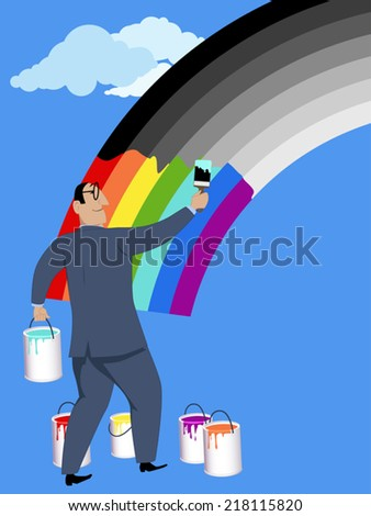 Optimism. Smiling man painting a monochrome rainbow in bright colors - stock vector
