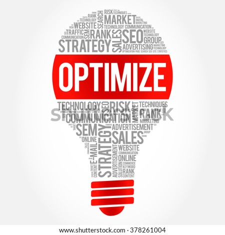 OPTIMIZE bulb word cloud, business concept - stock vector