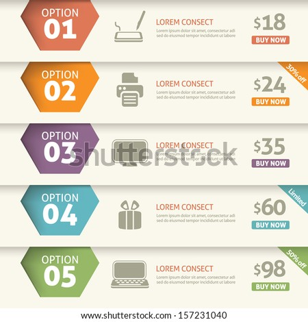 Option and price infographic - stock vector