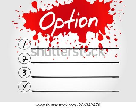 Option blank list, business concept - stock vector