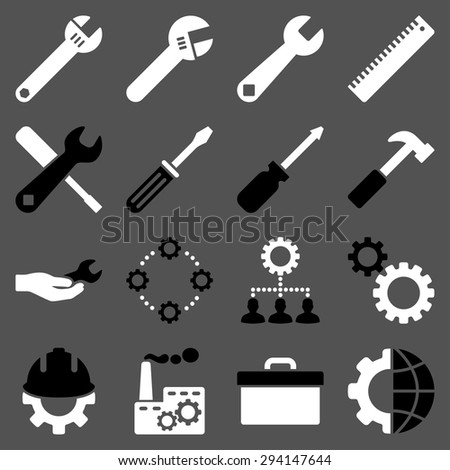 Options and service tools icon set. Vector style: flat bicolor symbols, black and white colors, rounded angles, gray background. - stock vector