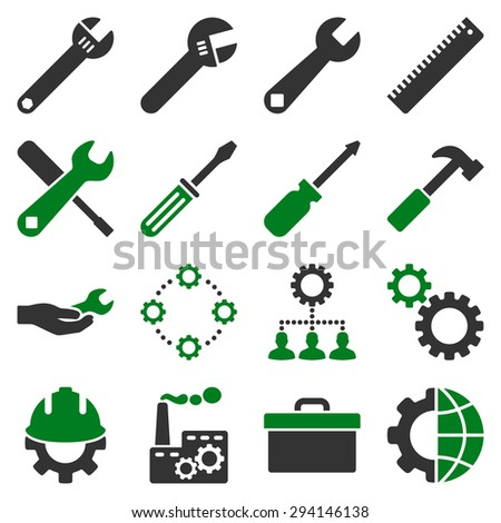 Options and service tools icon set. Vector style: flat bicolor symbols, green and gray colors, rounded angles, white background. - stock vector