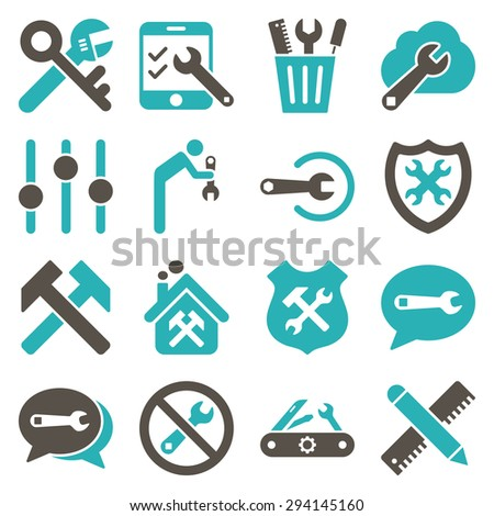 Options and service tools icon set. Vector style: flat bicolor symbols, grey and cyan colors, rounded angles, white background. - stock vector
