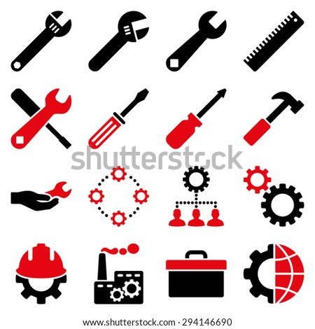 Options and service tools icon set. Vector style: flat bicolor symbols, intensive red and black colors, rounded angles, white background. - stock vector