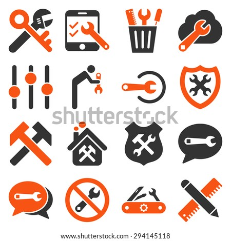 Options and service tools icon set. Vector style: flat bicolor symbols, orange and gray colors, rounded angles, white background. - stock vector