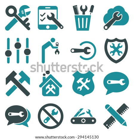 Options and service tools icon set. Vector style: flat bicolor symbols, soft blue colors, rounded angles, white background. - stock vector
