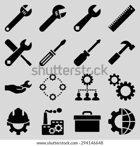 Options and service tools icon set. Vector style: flat symbols, black color, rounded angles, light gray background. - stock vector