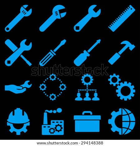 Options and service tools icon set. Vector style: flat symbols, blue color, rounded angles, black background. - stock vector