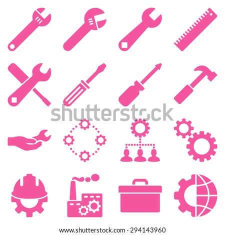 Options and service tools icon set. Vector style: flat symbols, pink color, rounded angles, white background. - stock vector